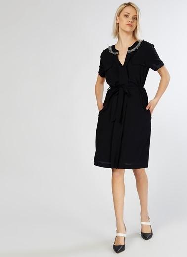 Fabrika Kısa Kollu Midi Elbise Lacivert